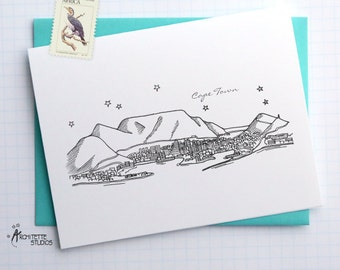 Cape Town, South Africa - City Skyline Series - Folded Cards (6)