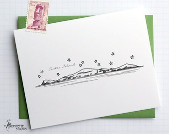 Easter Island - South America - City Skyline Series - Folded Cards (6)