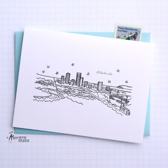 Adelaide, Australia - Asia/Pacific - City Skyline Series - Folded Cards (6)