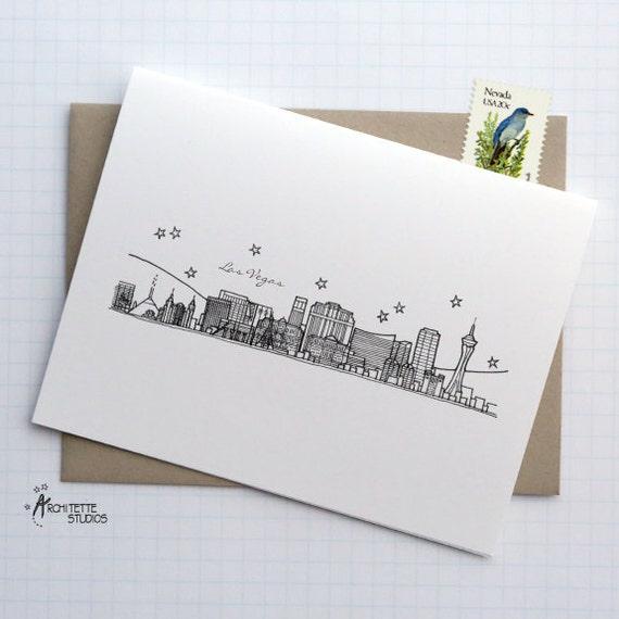 Las Vegas, Nevada - United States - City Skyline Series - Folded Cards (6)