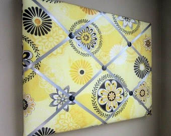 """16""""x20"""" French Memory Board, Bow Holder Yellow & Grey Floral Medallion, Bow Board, Memo Board, Photograph Holder, VIsion Board"""