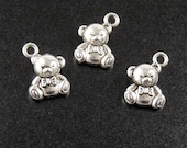 Jewelry TEDDY BEAR Charms 10 Silver 15mm x 11mm x 6mm (1026chm15s1)