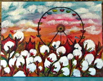 Behind the Cotton, Large Original Mixed Media painting, 30 x 40