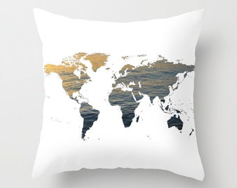 Ocean Texture Map Pillow Cover, World Map Home Decor, Interior Design, Accent Piece, World Map Pillow, White Pillow, Office Pillow, Dorm