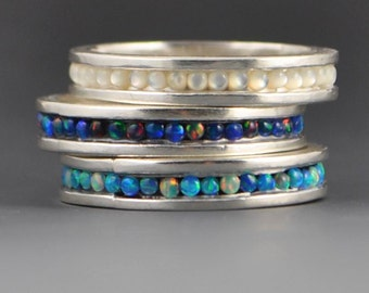 Stone Band Stacker Ring- Blue Lab Opal, Black Lab Opal, or Mother-of-Pearl