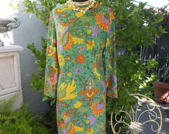 1970s Floral Print Dress, High Neck, Greem w/Yellow, Orange and Brown, Day Dress, Polyester Knit Dress