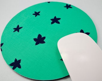 Buy 2 FREE SHIPPING Special!!   Mouse Pad, Round Fabric Computer Mousepad, or Trivet        Stars in Aqua Indigo