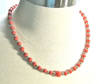 Coral colored beaded necklace, coral and gold necklace, orange and gold beaded necklace