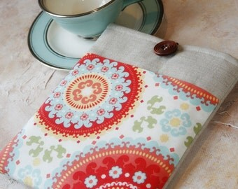 Kindle Case, Kindle Paperwhite Case, Oasis Case, made to FIT ANY BRAND Reader, Kindle Sleeve, Nook Glowlight Case in Linen and Fruity Pop