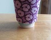 Handmade Coffee Cozy or Sleeve in Light Lavender and Dark Purple Flowers, Coffee Sleeve, Cup Sleeve
