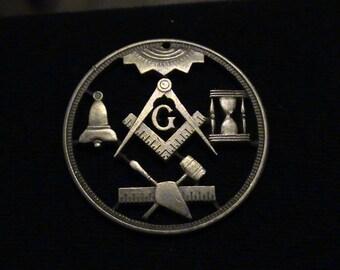 Vintage Freemason Medallion - cut coin pendant - Square and Compass - 1909