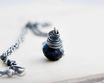 Sapphire Necklace, Gemstone Necklace, September Birthstone, Navy Blue, Midnight Blue, Sapphire Jewelry, Birthstone Jewelry, PoleStar