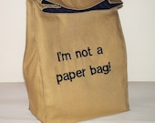 Custom Personalised Fabric Paper Bag Reusable Snack Sack Brown Lunch Bag Word Quote by BonTons on Etsy