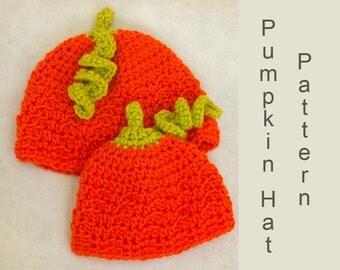 Pumpkin Baby  Hat Crochet Pattern, Instant Download, Child Hat PDF Pattern, Halloween Hat Pattern
