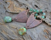 Handmade Copper Forest Dew Drop Earrings