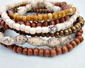 Beaded Stretch Bracelet Assortment, Set of Six in Caramel Toffee and Cream: Frappé