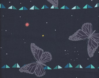 Cotton + Steel Rashida Coleman-Hale Moonlit Butterfly Stripe in Midnight - Half Yard