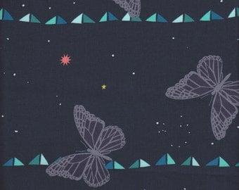 Cotton + Steel Rashida Coleman-Hale Moonlit Butterfly Stripe in Midnight - Half Yard