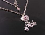 Motorbike Necklace, Motorcycle Necklace, Heart Necklace, Customizable Hobby Necklace, Customizable Heart Necklace, Biker Jewelry, Rocker