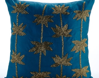 "Designer Teal Blue Cushion Covers, Zardozi Lotus Flower Antique Throw Pillows Cover 18""x18"" Taffeta Throw Pillows Cover - Gold Lotus Dreams"