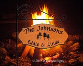 RV Camping Location Sign - Custom Carved RV Camping Sign - Includes Round Garden  Holder