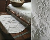 Antique Doily Table Centerpiece, White Linen Raised Embroidery, Lg Round, 32 inches OOAK handmade