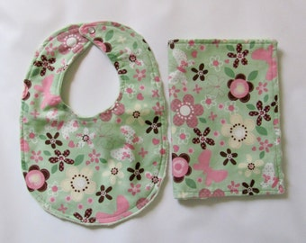 Clearance Baby Bib and Burp Cloth Set Butterfly, Baby Girl Shower Gift Set, Minky Baby Bib set On sale