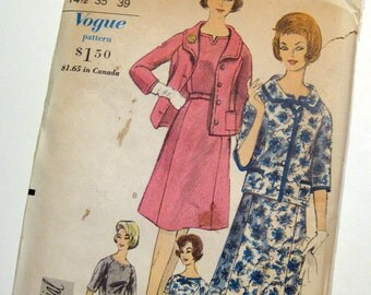 Vintage 60s Vogue 5445 Womens Dress and Jacket Sewing Pattern / Size 14.5 UNCUT FF