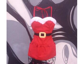 Ms. Santa sexy Reversible diva hostess Apron Christmas