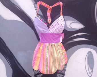 Full reversible sexy Kitschy Apron swing dress style Pinks Purples and Yellows