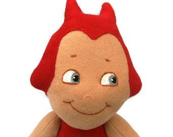 "A little ""Halloweenie"".  A cheeky little devil.  Cloth doll. Red."