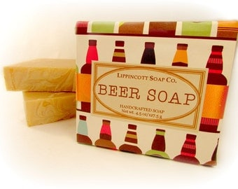 Beer Soap, Cold Process Soap Bar, Handmade Soap, Bar Soap, Palm Oil Free, Phthalate Free, Men's Soap, Beer Scented Soap, Father's Day Gift