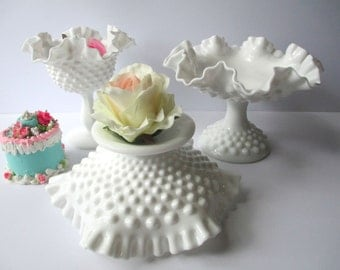 Vintage Fenton Milk Glass Hobnail Comport Collection of Three