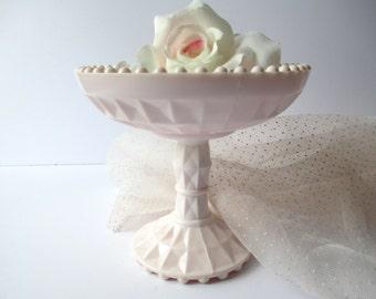 Lovely Vintage Jeannette Windsor Pink Milk Glass Pedestal Dish