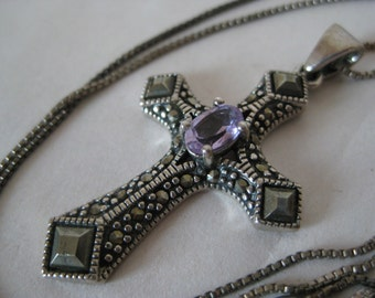 Cross Amethyst Marcasite Sterling Necklace Vintage Silver Pendant 925 Christian Purple