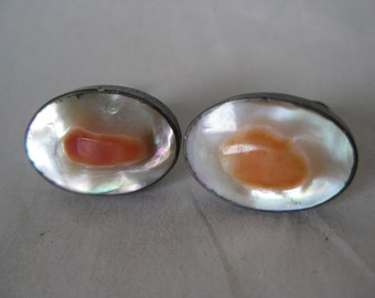 Pearl Blister Earrings Screw Sterling Silver Shell Orange Vintage 925