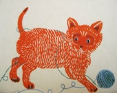 Playful Kitty, original block printed card, printmaking, applique