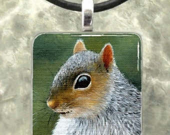 Art Glass Pendant 1x1 Jewelry Necklace Squirrel 16 from art painting by L.Dumas