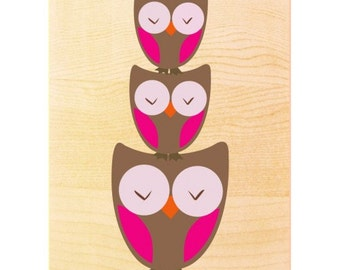 Owl Stack Art Print In Blue Or Pink