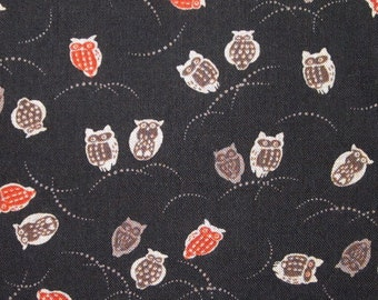 Japanese cotton prints - 1/2 yard of small black owls