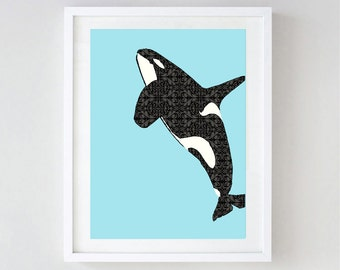 Killer whale  - decor, blackfish, nursery decorating ideas, whale, nursery whale, whale art,  Orclnus orca