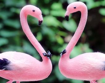 Pink Flamingo Wedding Cake Topper: Groom & Groom Gay Love Bird Cake Topper -- Two Grooms -- LoveNesting Cake Toppers