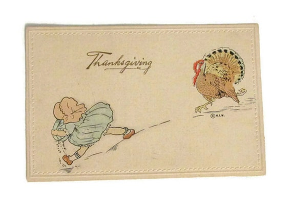 Off to the turkey races - Antique Woehler Thanksgiving postcard - 1911 - Hand-embossed - Made in Germany