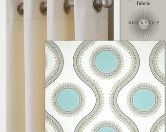 """21""""  Wide Aqua, Taupe and White Curtains 64"""", 84"""", 96"""" and Up Window Panels, Draperies- Blackout Available"""