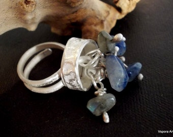 wild rustic silver ring blue gemstone adjustable OOAK handmade artisan jewelry  Eco friendly sustainable