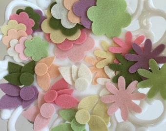 Wool Felt Flowers, Die-Cut Shapes, 100% Wool, Flower Assortment, Embellishment, Applique, Needle Felt,  Party Supply