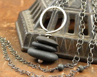 Cairn necklace, beach stone necklace, 31 inches long, sterling silver cairn pendant, ready to ship.