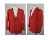 Vintage 70s Mens Red Blazer Jacket with silvery Buffalo buttons 40 to 42 estimated