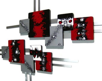 Xander red n black 2pc Abstract Art wall hangings, Modern Square design Wood Wall Sculpture with Metal - metal wall at-home decor by DAS