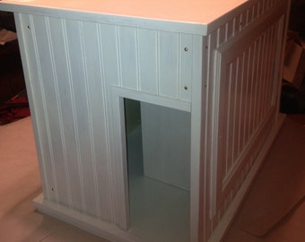 WHITE Large Kat Litter Kabinet - 100% Wood - NOT MDF - Litter & Odor Control - Dog and Child Proof - Cnoice of Entry Style